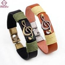 Heeda Kpop, brazalete Vintage de cuerda de cuero, símbolo Musical con personalidad, pulsera verde marrón, Joker de moda, hombre, mujer, joyería