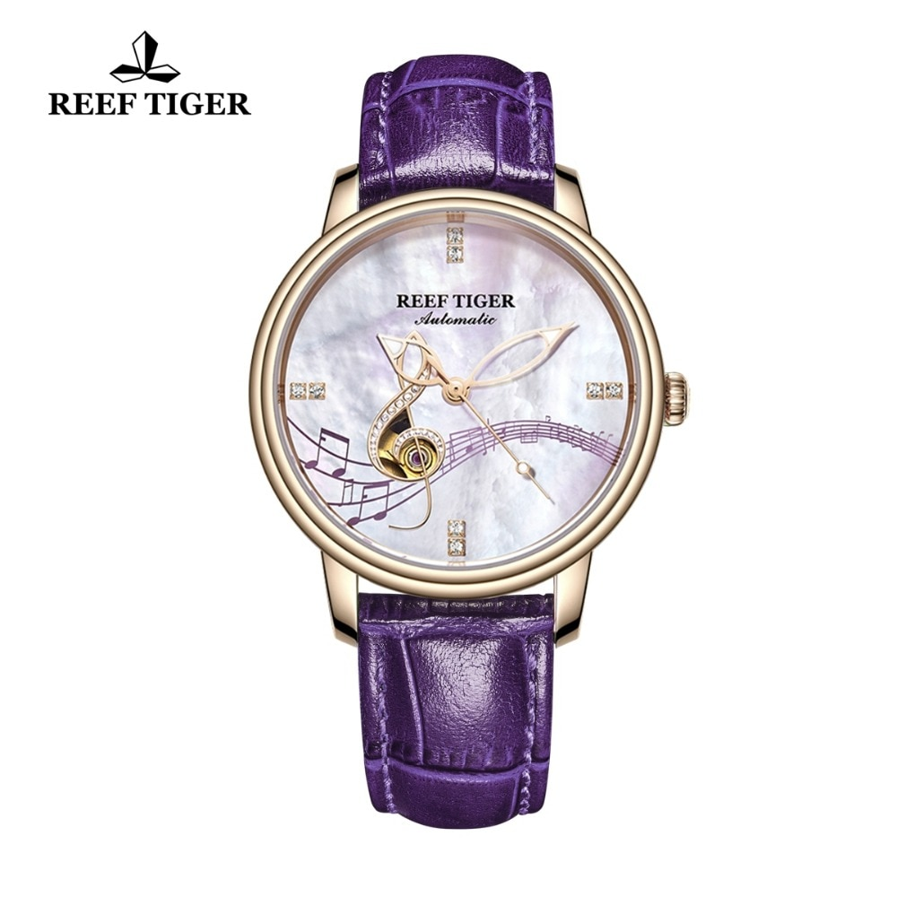 2021 Reef Tiger/RT Women Fashion Watches New Rose Gold Luxury Automatic Watches Leather Band relogio feminino RGA1582 enlarge