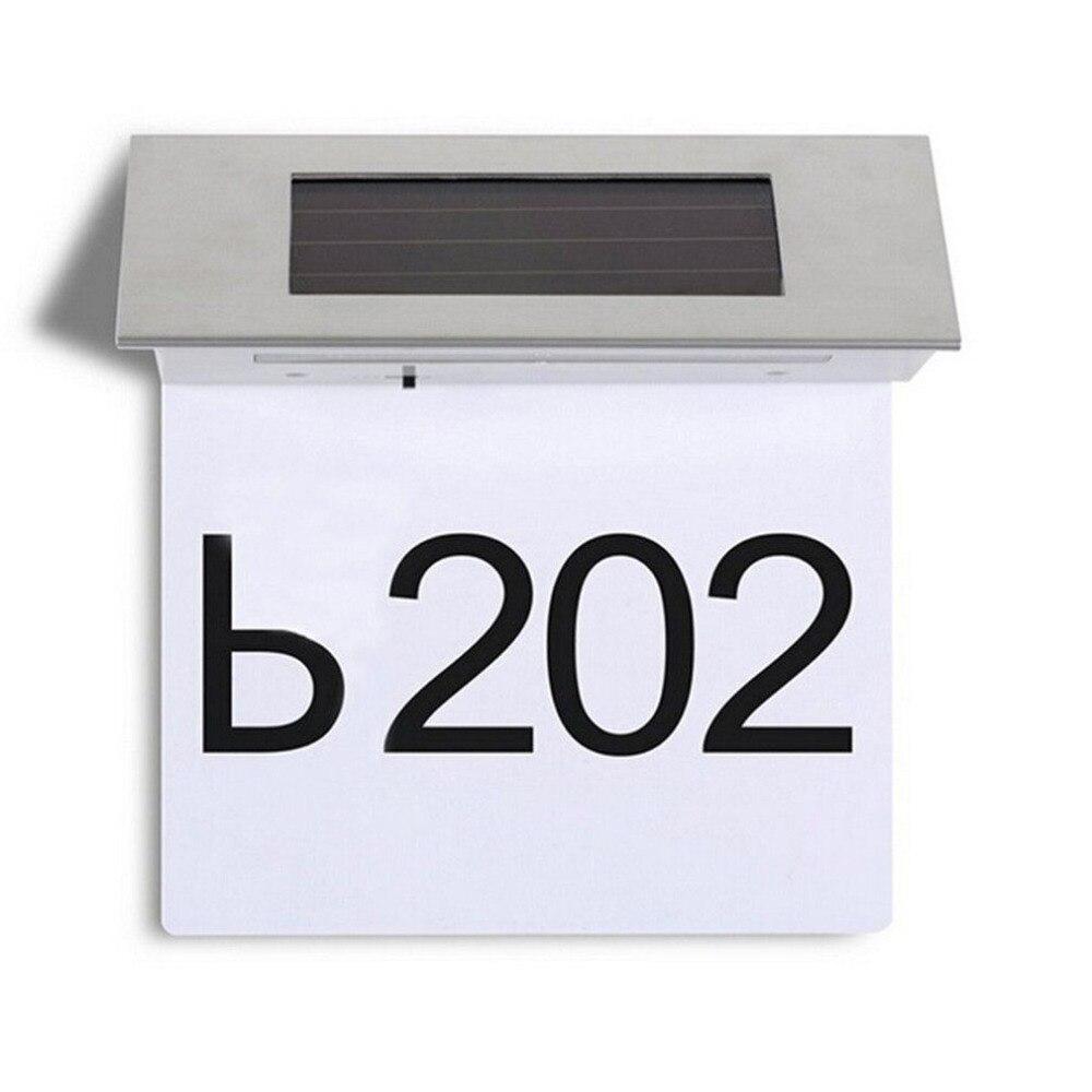 4LED impermeable Solar Powered Doorplate número luz de la dirección del hogar Número de la lámpara de acero inoxidable casa apartamento Número de la lámpara
