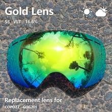 Lentille nuageuse ensoleillée pour lunettes de ski GOG-201 anti-buée UV400 grandes lunettes de ski sphériques lunettes de neige lentilles de lunettes (seulement lentille)