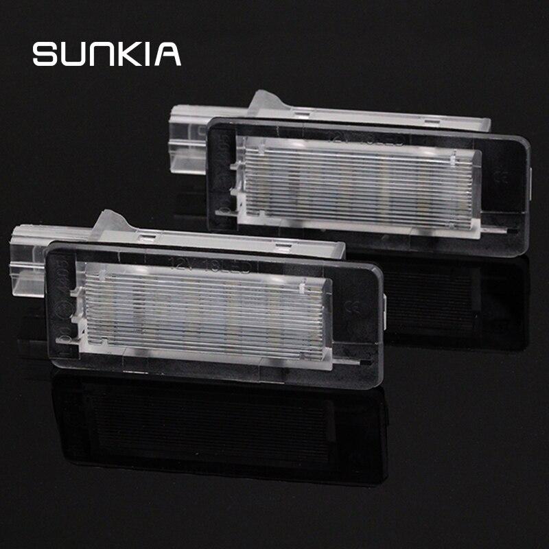 Sunkia, sem erro, lâmpada led para placa de licença, para renault space mk4 scenic mk2 laguna 2 dacia duster logan mcv iii