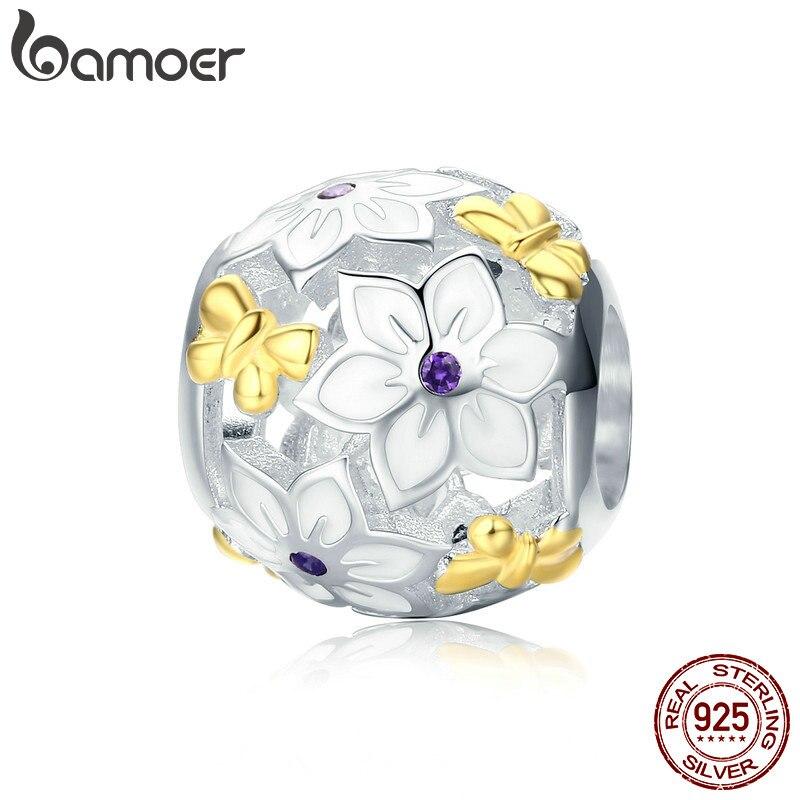 Браслет BAMOER SCC546, из 100% 925 пробы серебра, с эмалированными цветами и бабочками