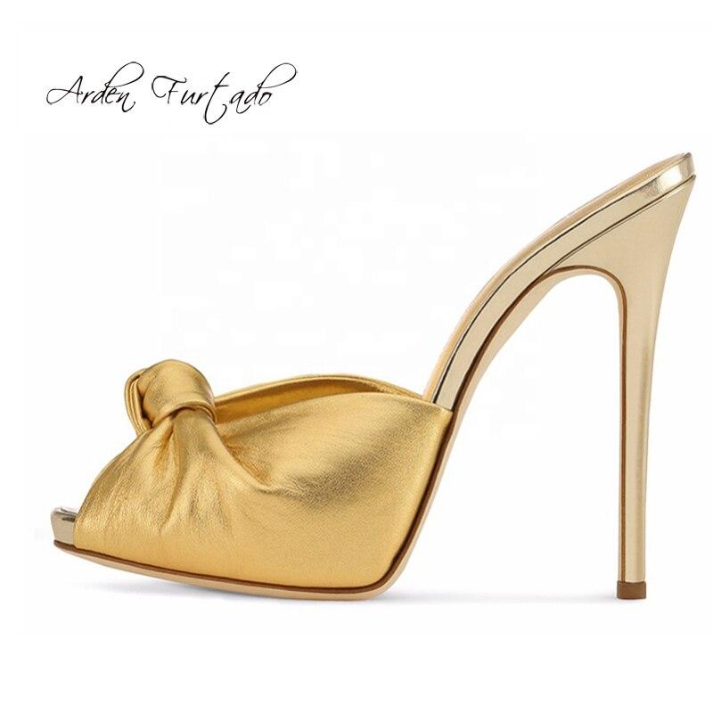 Arden Furtado, moda de Verano de 2020, zapatos de mujer Sexy, elegante, oro, azul, tacones, zapatos de fiesta, zapatillas rosas de mulas, talla grande
