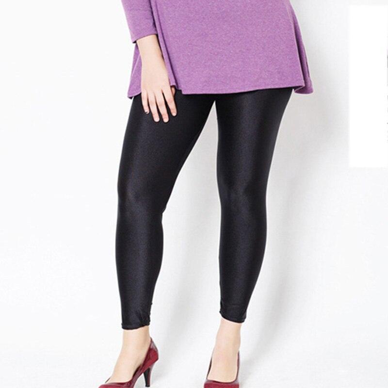 Plus rozmiar 5XL damskie legginsy treningowe wysokiej talii czarne dorywczo błyszczące błyszczące Legging kobiece spodnie fitness wysokie rozciągnięte spodnie