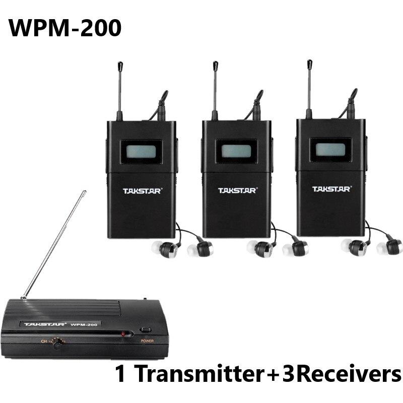 Takstar WPM-200/WPM200 sistema de monitorización inalámbrico para monitoreo de estudio/monitoreo en etapa 1 transmisor + 3 receptores