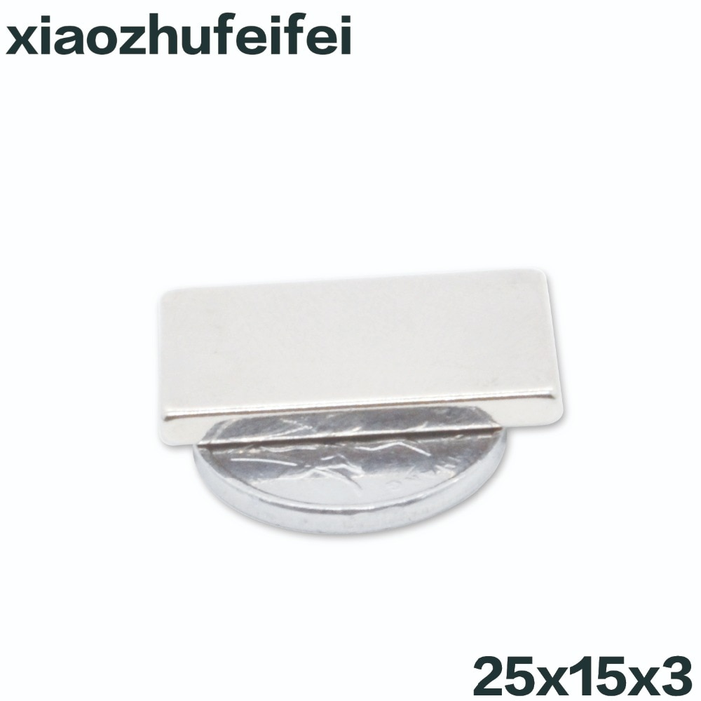 Супер сильная лента N50, 5 шт., 25*15*3 N50, редкоземельный неодимовый блок, 25 мм x 15 мм x 3 мм 25x15x3