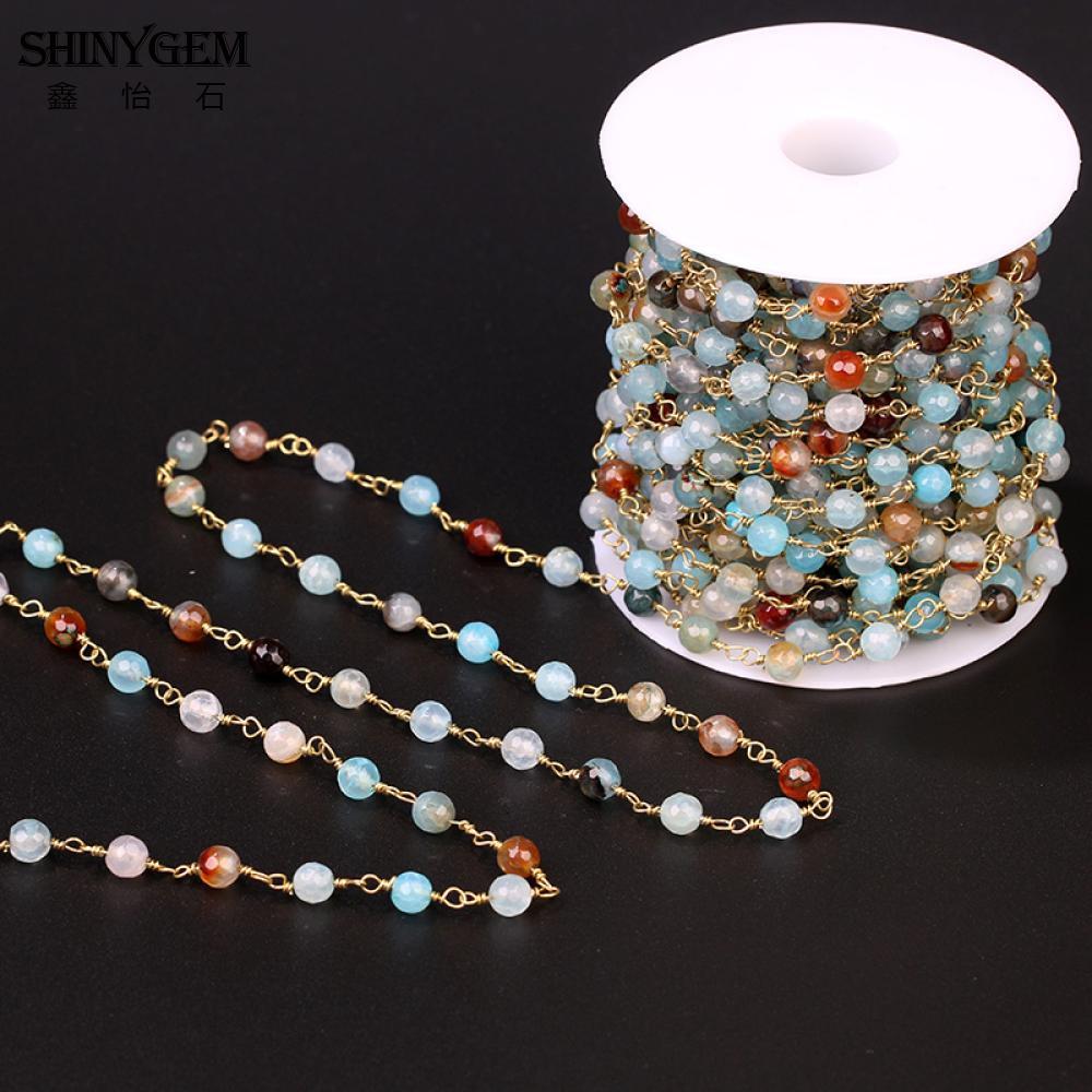 ShinyGem 6 Rainbow Pedra Natural Bead Cadeia Chapeamento de Ouro dois milímetros Facetada Redonda Colorido de Cristal Cadeia Para Fazer Jóias Ágatas 5 m/lote