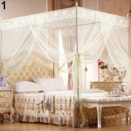 Mosquitera BLUELANS, dosel de cuatro esquinas de encaje de princesa para cama de estudiante, mosquitera para cama doble de Reina completa, cama King, triangulación de envío