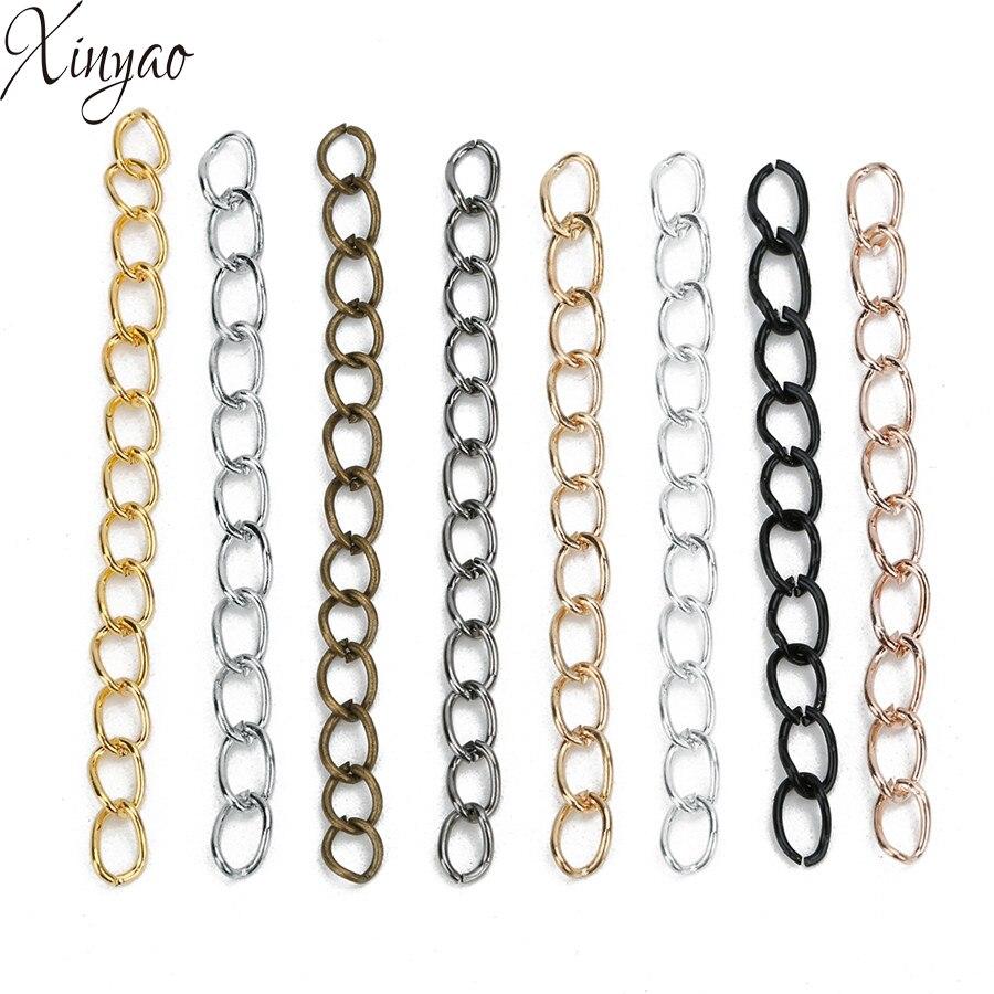 XINYAO 100 pçs/lote Extensão Colar Grosso Cadeia Pulseira Extensor Cauda Estendida Correntes Para DIY Jewelry Making Achados F1620