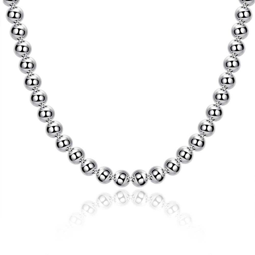 ¡Oferta! joyería de plata de ley 925, collar esférico de sección neutral de 10mm, accesorios simples de moda DIY, joyería exagerada