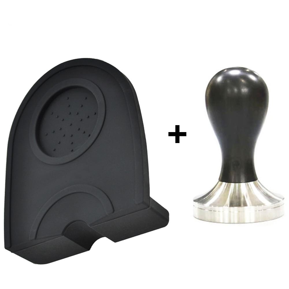 49/51/53/58mm Silicone Coffee Tamper Mat Holder Espresso Maker Non-Slip Flexible Corner Mat 304 Stainless Steel Coffee Tamper