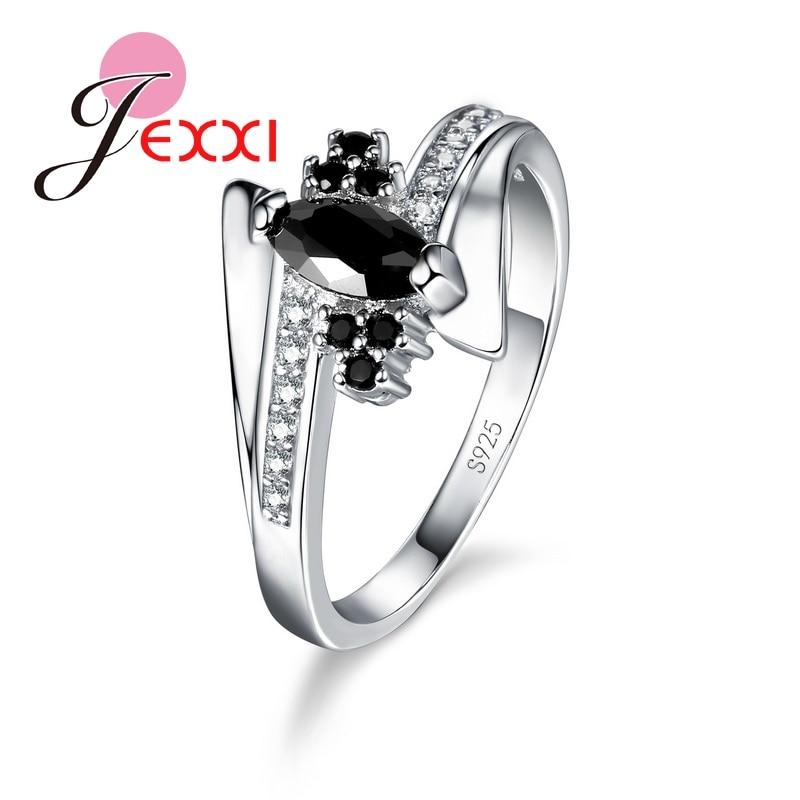 Joyería de moda Gnnuine 925 plata esterlina CZ anillo de dedo de cristal anillos de boda de compromiso de lujo para las mujeres