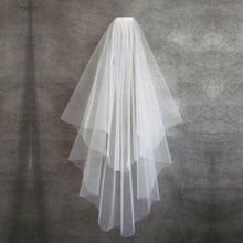 Velo de novia de dos capas, velo Simple de tul blanco y marfil, con borde de cinta, peine, accesorios de boda baratos