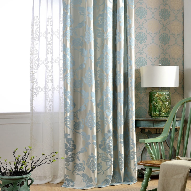 Cortinas para sala de estar de tejido azul Damask, cortinas de lujo opacas de Jacquard para dormitorio, persianas personalizadas, sombreado de ventana, Panel 70%