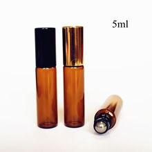 5 pcs/pack 5ml ambre verre rouleau sur bouteille mince verre huile essentielle bouteille avec métal rouleau boule aromathérapie verre flacons