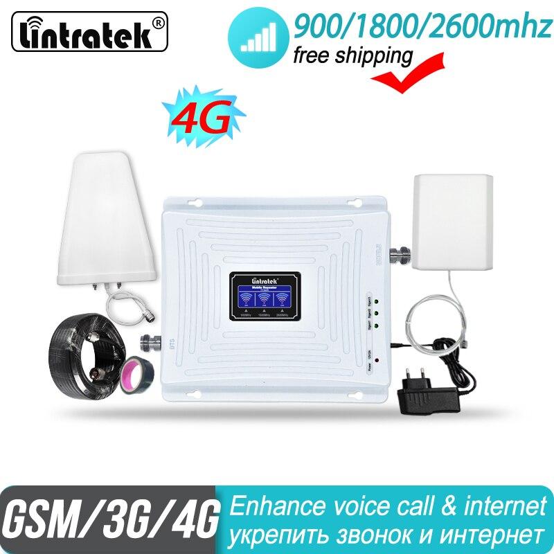 Amplificateur de Signal à trois bandes Lintratek 2g 3g 4g 900 1800 2600 GSM UMTS LTE DCS bande 3 bandes 7 FDD 2600MHz amplificateur de répéteur cellulaire