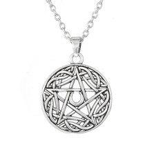 EUEAVAN 15 Uds religiosa pentagrama collar de Luna grande runa Pentáculo Colgante círculo punk joyería para hombre mujer