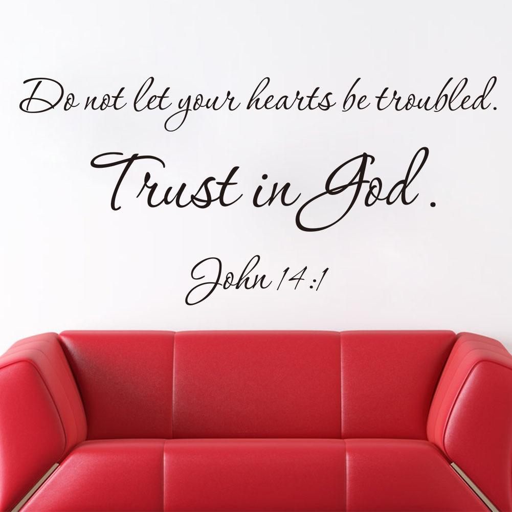 Виниловые настенные наклейки Trust Is God, новый дизайн, кристианская цитата, домашний декор, 8198