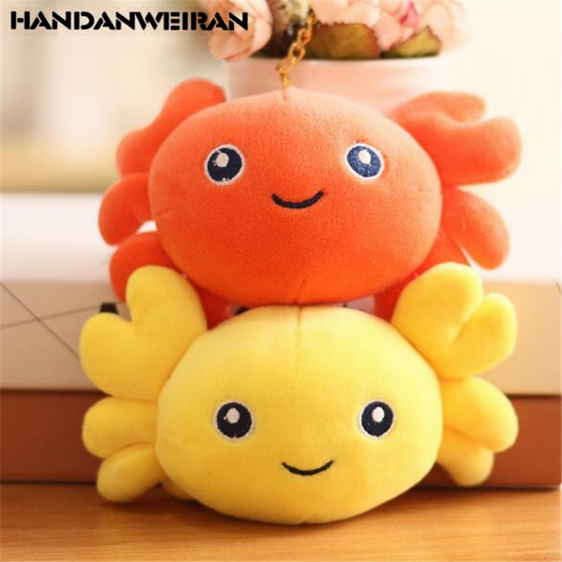 1PCS Mini Plush Crabs Toy Small Pendant Girl Heart  Soft Stuffed Crab Toys Holiday Wedding Gift For Kids 16CM Yellow/Orange