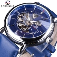 forsining 2018 fashion casual blue clock open work design genuine leather belt mens automatic wristwatches top brand luxury