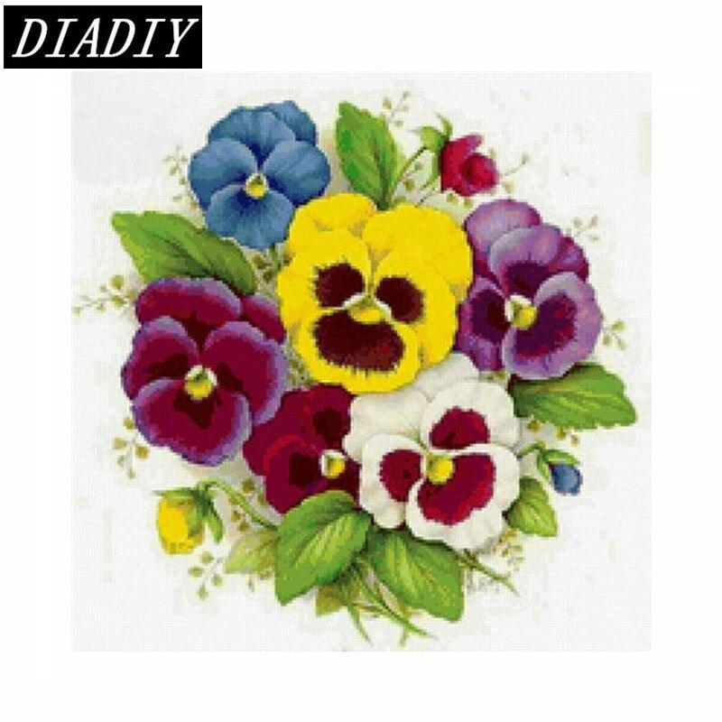 Diamond embroidery flowers flowers round drill cross stitch full area highlight diamond needlework diy diamond painting Pansy