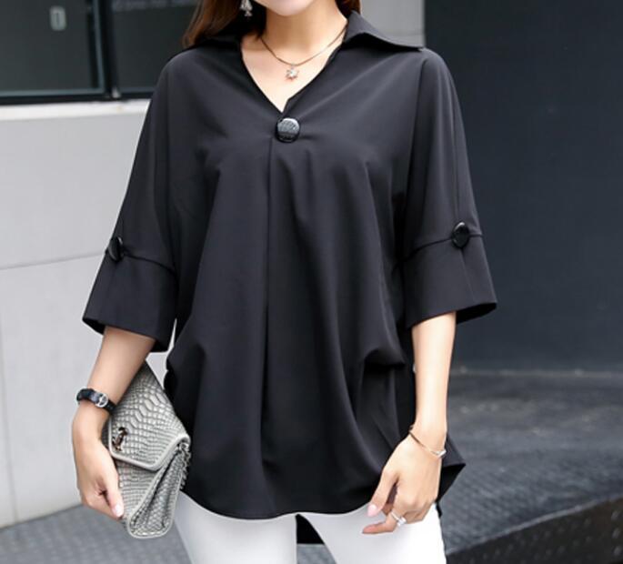 XL-6XL الساخن 2019 الربيع/الصيف النساء جديد أزياء كبير حجم خمس نقاط كم الشيفون قميص فضفاض الخامس الرقبة ضئيلة قميص
