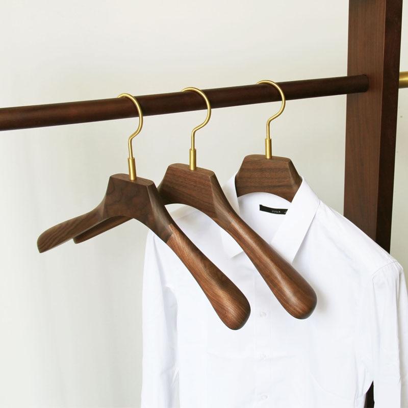 Lote de 6 unidades de perchas para abrigos de madera de nogal o negro, perchas para trajes de madera maciza con gancho de latón, tendedero antideslizante sin costuras para ropa