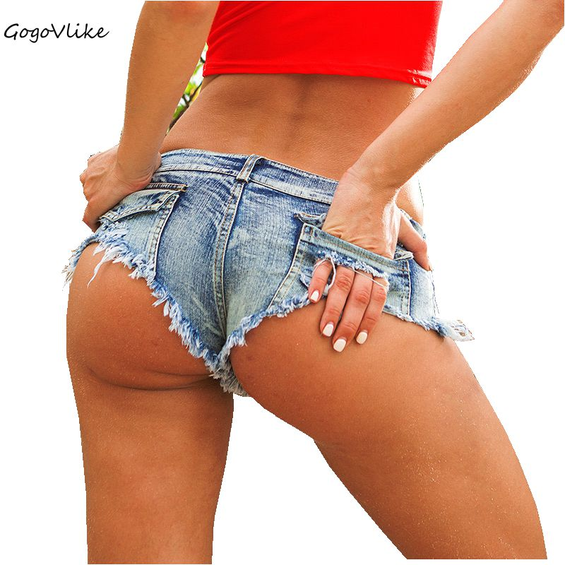 5 couleurs Sexy déchiré poche pôle danse string Bar shorts femmes jeans denim Micro Ultra taille basse Clubwear cortos mujer DK037S30