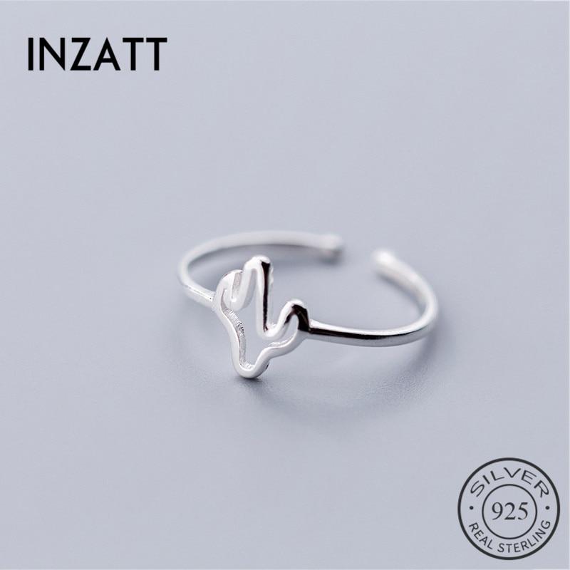INZATT, anillo de plata de ley 925% auténtica, minimalista, hueco, árbol, planta, anillo para mujeres elegantes a la moda, joyería fina, anillo de apertura, regalo