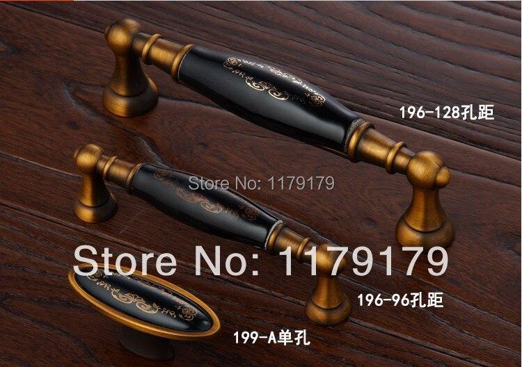 """128mm vintage furniture handle black ceramic kitchen cabinet wardrobe door handle 5"""" bronze dresser cupboard door pull handle"""