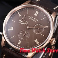 Parnis men's watch 42mm rose golden case DATE Power reserve coffee dial 5ATM ST1780 Automatic movement wrist watch men 945