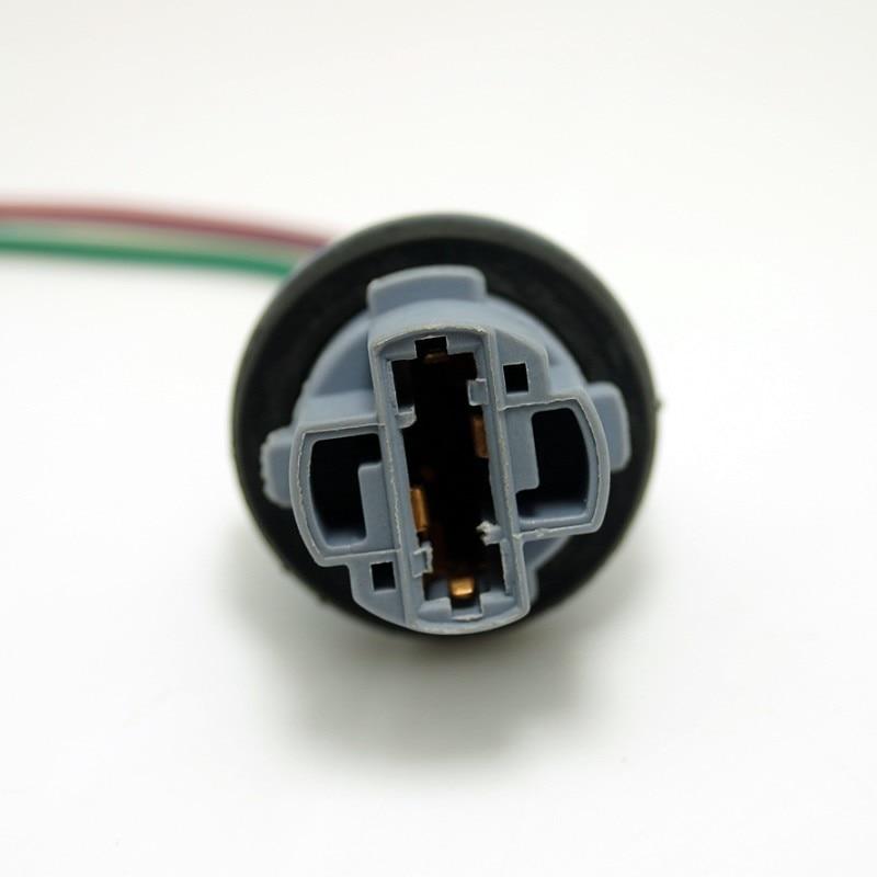 2Pcs 7440 T20 Car Bulb Socket Brake Turn Signal Light Harness Wire Auto T20 LED Pig Tail Plug Automotive Light Source Adapter
