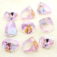36pclot acrylic cartoon princess snow white crystal kids finger rings party costume birthday party favors gifts