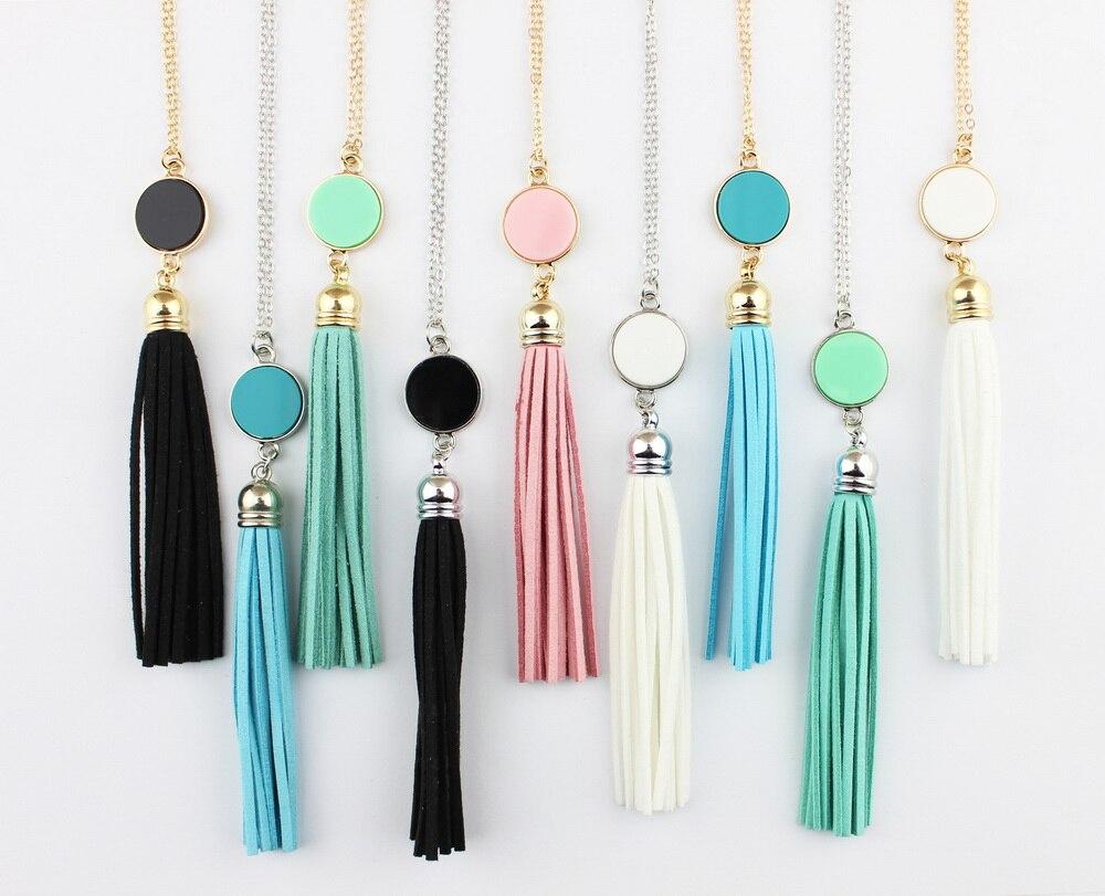 Monograma disco acrílico espacios en blanco colgante de cadena larga Boho terciopelo borla Collar para mujeres Femlae joyería de moda