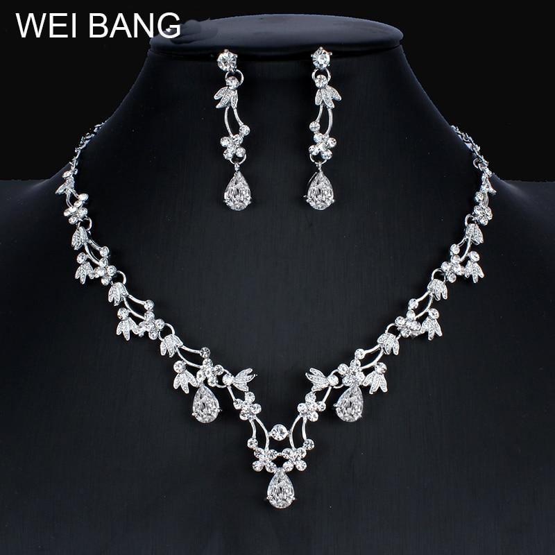 Weibang joyería Africana Color plata conjunto de joyería para mujer collar de matrimonio pendientes boda regalo para niñas, joyería