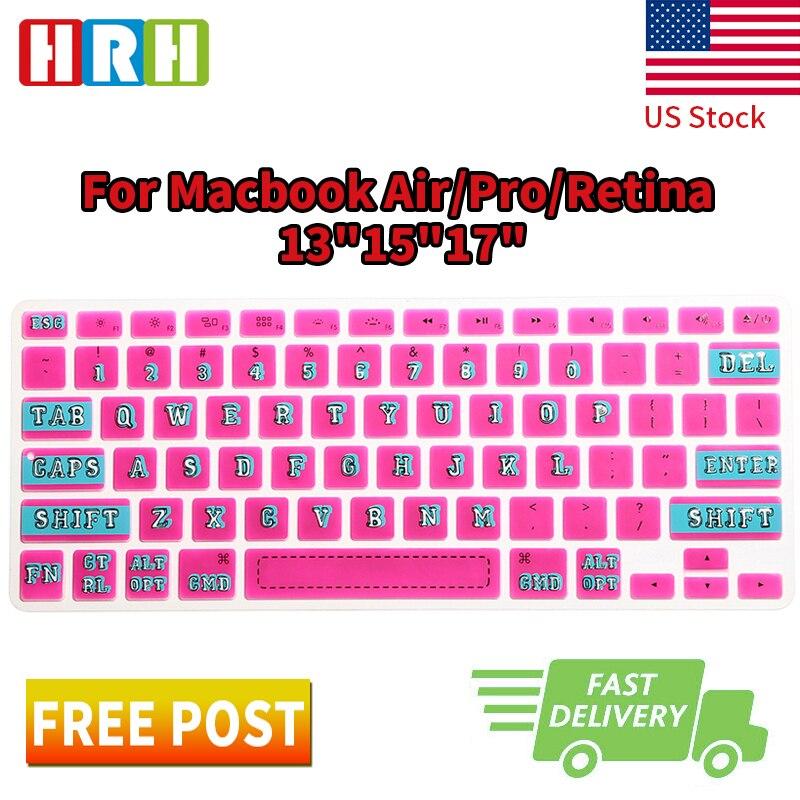 HRH Роза Красочный шрифт силиконовая клавиатура защита кожи покрытие пленка для Macbook Air Pro retina 13