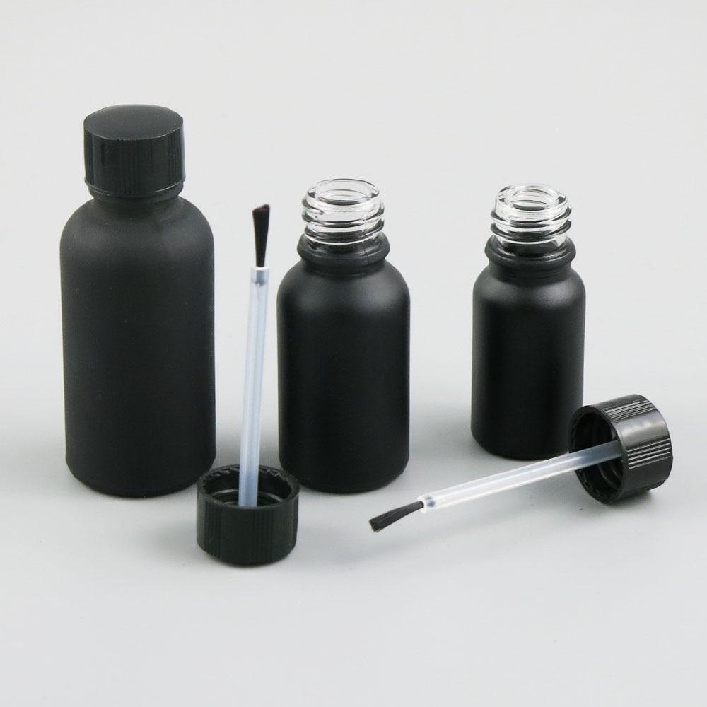 360x5 مللي 10 مللي 15 مللي 20 مللي 30 مللي 50 مللي 100 مللي مسمار البولندية متجمد الزجاج الأسود زجاجة مع فرشاة للجمال مستحضرات التجميل حاويات زجاجة