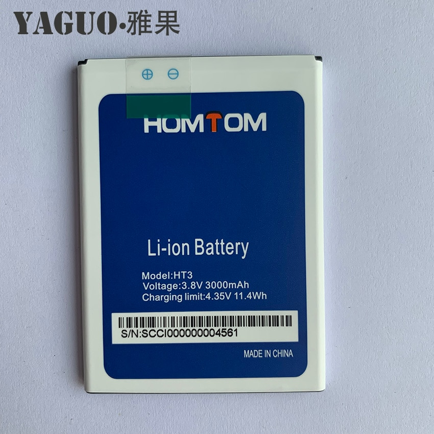 100% Original Homtom HT3 Battery Replacement 3000mAh Mobile Phone Battery HT 3 Pro Backup Battery Fo
