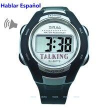 Espagnol parlant montre pour les aveugles et les personnes âgées électronique sport parler montres