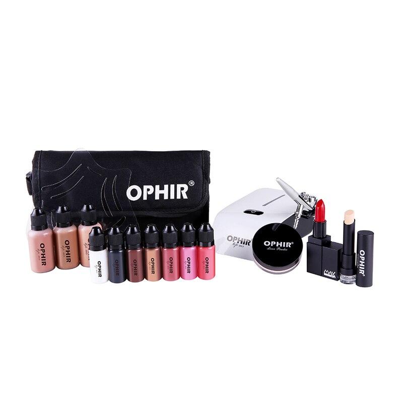 Juego de maquillaje aerógrafo OPHIR de 0,4mm con 3 base correctora 2 colorete 5 Juego de lápiz labial y bolsa herramienta de maquillaje _ OP-MK001