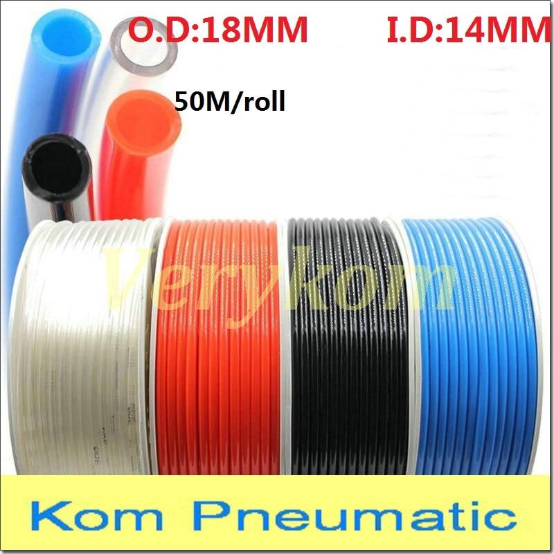 50 m Alta Qualidade Pneumática Mangueira PU Tubo de Ar 18mm ID 18 14mm Plástico Flexível Tubo PU * 14 18x14mm Tubos de Poliuretano