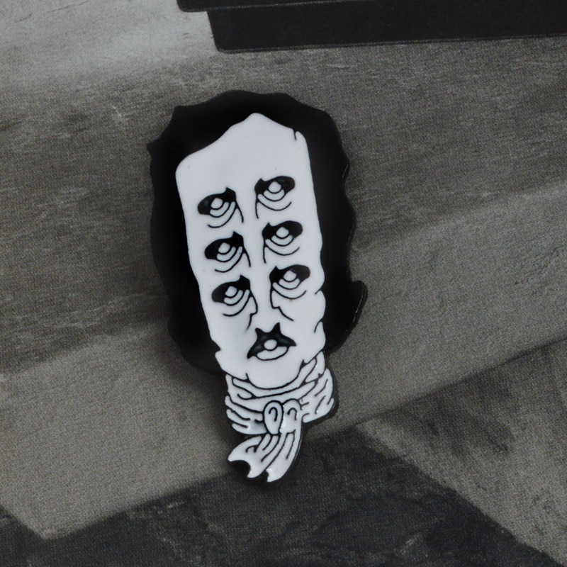 Pin de solapa esmaltado del poeta histórico Edgar Allen Poe varios ojos viejo hombre insignia escudo para amante de la literatura regalo para Amiga