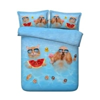 duvet cover 3d cat bedding set luxury cotton bed sheet linen sheets bed in a bag cal super king queen size twin full double 4pcs