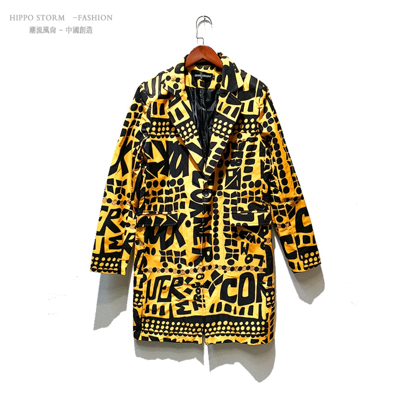 M-6XL!!!Yellow letter long suit British Korean version of the self-cultivation suit nightclub bar tide male hairdresser suit.