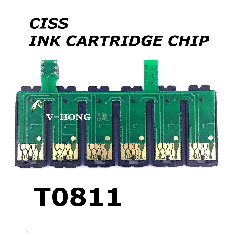 T0811-T0816 cartucho de tinta + chip kit compatível peças impressora chip original uso para impressora tx700 tx710 tx800 tx810 tx820 tx720