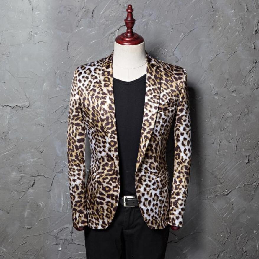 promotion new suit printed leopard men's casual suit jacket photo studio host hair stylist flower suit star stage show costumes