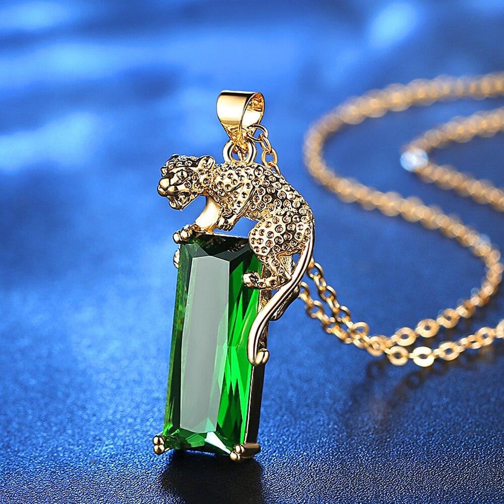 Women New Simple Animal Leopard Pendant Necklace Women Copper Zirconia Necklace Charm Green Premium Zircon Exclusive Memory Gift