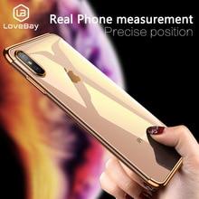 Lovebay Transparent en Silicone Téléphone étui pour iphone X XS XR Xs Max 6 6 s 7 8 Plus Doux TPU Placage Cadre Transparent Étuis Coque