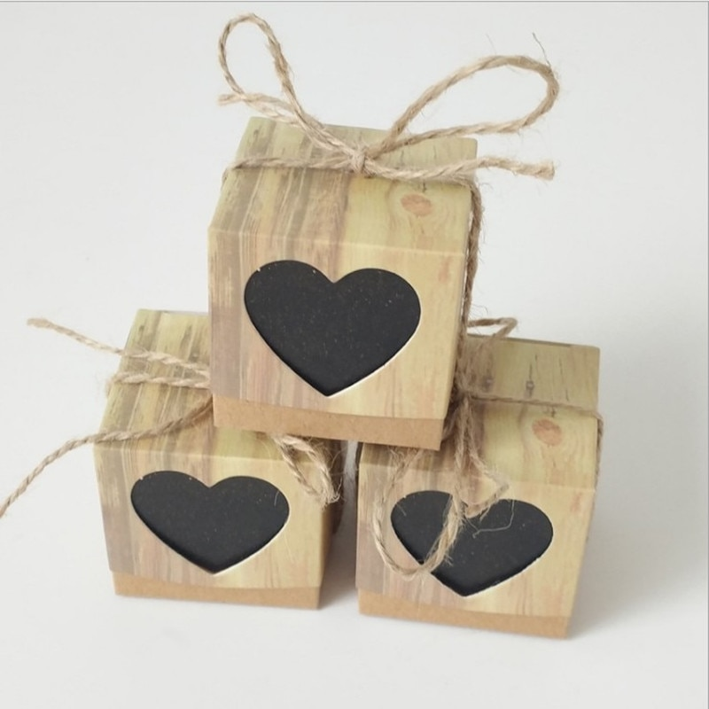 Caja de dulces negro Corazón de amor rústico Kraft con cuerda yute Shabby caja de regalo de boda 200 Uds