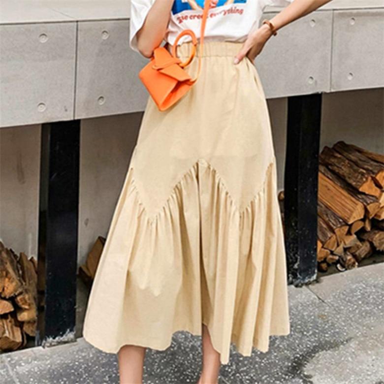 2020 Autunm Summer red Black White pink yellow purple Pleated maxi long Skirt,plus size 5xl 6xl 7xl Cotton linen ruffled skirts